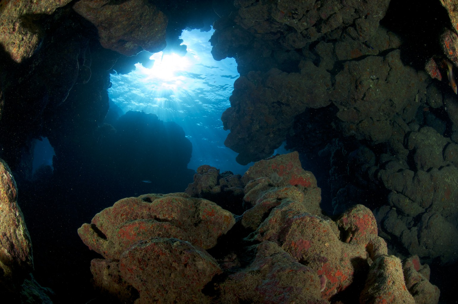 Red Sea Cave opening, southern Red Sea, Egypt