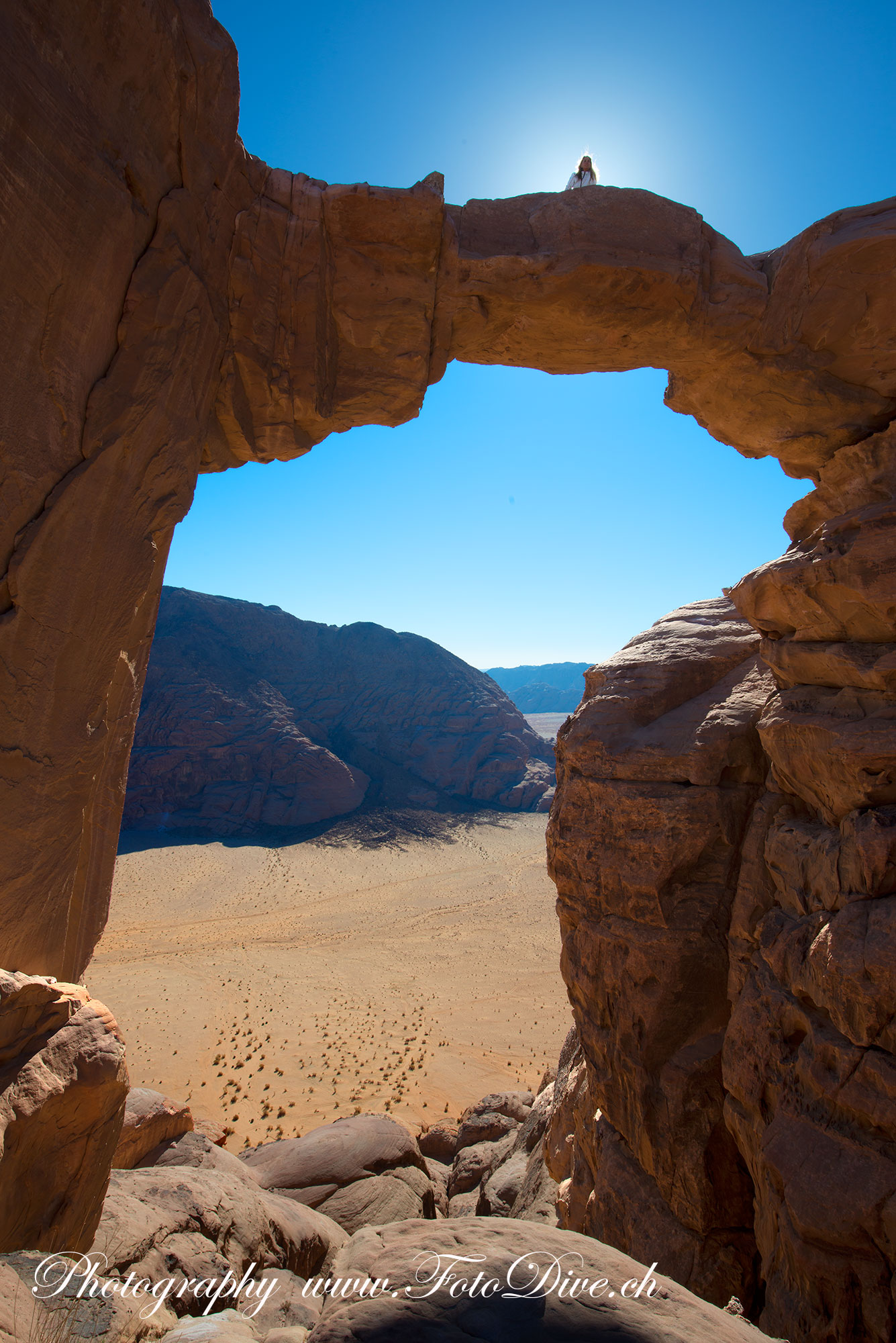 Impressive Jebel Burda Stone Bridge at Wadi Rum