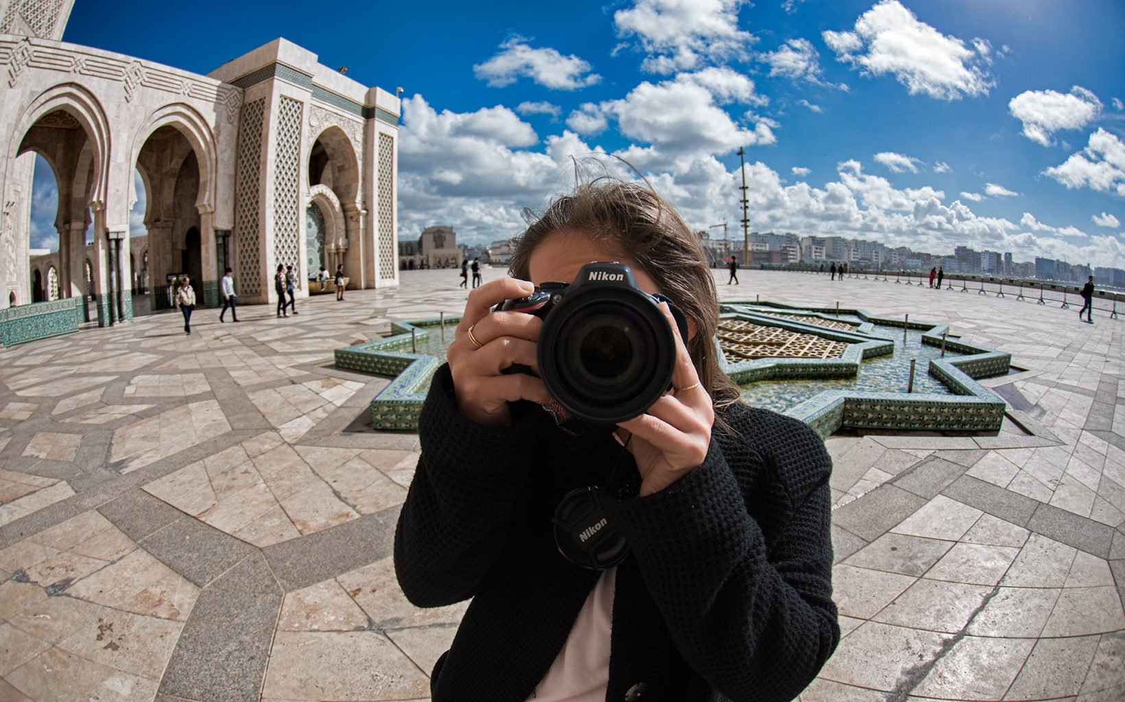 Photographer at Hassan II Mosque in Casablanca, Morocco